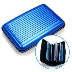 Etui na dokumenty RFID i karty kredytowe - Niebieskie -Aluminiowy Portfel Wallet