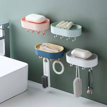 Uchwyt na mydło z haczykami - biały - Mydelniczka - Wieszak ścienny - Podstawka