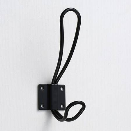 Wieszak ścienny podwójny - czarny A2750 - Haczyk metalowy na płaszcz