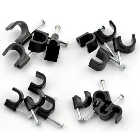 Zestaw 80szt - Uchwyt do kabli z gwoździem 6,7,8,9mm CC80W - czarny